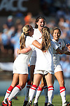 30 August 2013: New Mexico's Dylann O'Connor (3) celebrates scoring the game's first goal. The University of North Carolina Tar Heels hosted the University of New Mexico Lobos at Fetzer Field in Chapel Hill, NC in a 2013 NCAA Division I Women's Soccer match. UNC won the game 2-1.