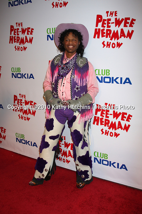 """Phil LaMarr as Cowboy Curtis.arriving at the """"The Pee Wee Herman Show"""" Opening Night..Club Nokia.Los Angeles, CA.January 20, 2010.©2010 Kathy Hutchins / Hutchins Photo...."""