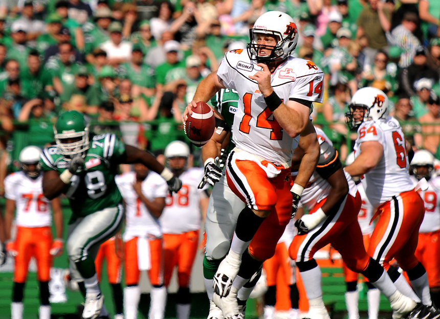B.C. Lions quarterback Travis Lulay on the run during a CFL game against the Saskatchewan Roughriders. THE CANADIAN PRESS/Mark Taylor.