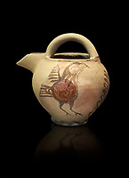 Bridge spouted jug bird decorated. Early Cycladic I (1650-1550 BC); Phylakopi; Melos. National Archaeological Museum Athens. Cat No 5768. Black background.<br /> <br /> <br /> During this Cycladic period the pottery designs were heavily influenced by Cretean minoan with pottery like this using bird patterns.