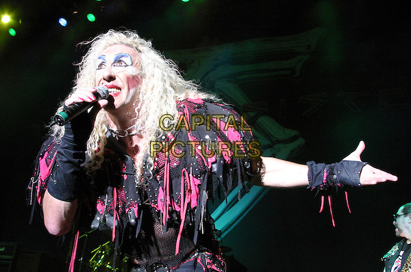 TWISTED SISTER.Twisted Sister Live at Nottingham Arena..UK, United Kingdom..16th November2005..Ref: JEZ.half length performing on stage singing live music gig concert heavy make-up holding microphone arm out gesture.www.capitalpictures.com.sales@capitalpictures.com.©Capital Pictures