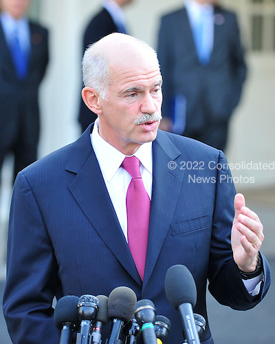 Prime Minister George Papandreou of Greece briefs reporters after his meeting with United States Vice President Joseph Biden at the White House in Washington, D.C. on Tuesday, September 21, 2010.  .Credit: Ron Sachs - CNP