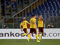 Calcio, Europa League: Lazio vs Sparta Praga. Roma, stadio Olimpico, 17 marzo 2016.<br /> Sparta Praha's Ladislav Krejci, left, celebrates with teammates after scoring during the round of 16 second leg soccer match between Lazio and Sparta Praha, at Rome's Olympic Stadium, 17 March 2016.<br /> UPDATE IMAGES PRESS/Isabella Bonotto