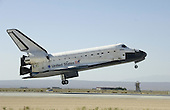 Edwards, CA - May 24, 2009 -- Space Shuttle Atlantis glides toward Runway 22 at Edwards Air Force Base as it concludes its historic final servicing mission to the Hubble Space Telescope. .Mandatory Credit: Tony Landis - NASA via CNP
