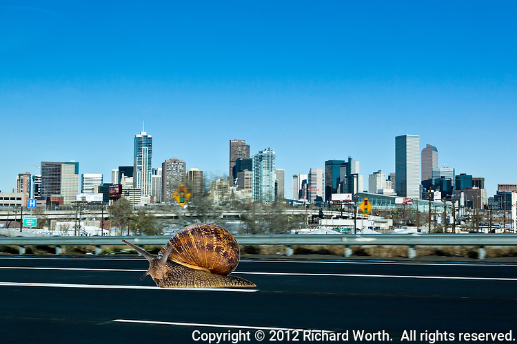 Traffic report - things are moving at a snail's pace along I-25 in Denver.