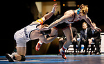 LA CROSSE, WI - MARCH 11: Ben Swarr of Messiah tangles up with Eric DeVos of Wartburg in the 174 weight class during NCAA Division III Men's Wrestling Championship held at the La Crosse Center on March 11, 2017 in La Crosse, Wisconsin. DeVos beat Swarr 10-1 to win the National Championship. (Photo by Carlos Gonzalez/NCAA Photos via Getty Images)