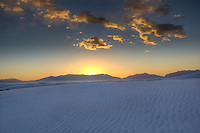Sunset over the dunes at White Sands National Monument in New Mexico.