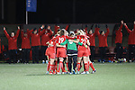 SALEM, VA - DECEMBER 3:The Bears huddle up during theDivision III Women's Soccer Championship held at Kerr Stadium on December 3, 2016 in Salem, Virginia. Washington St Louis defeated Messiah 5-4 in PKs for the national title. (Photo by Kelsey Grant/NCAA Photos)