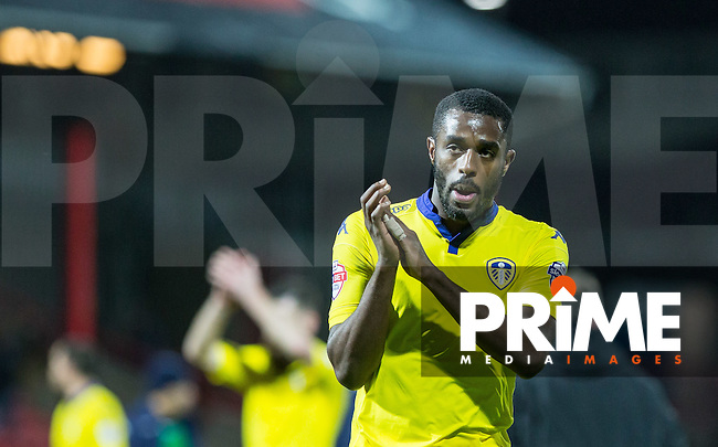 Goal scorer Mustapha Carayol of Leeds United applauds the support during the Sky Bet Championship match between Brentford and Leeds United at Griffin Park, London, England on 26 January 2016. Photo by Andy Rowland / PRiME Media Images.