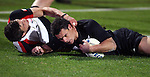 All Black Dan Carter scores a try during the Iveco rugby union international test match between the All Blacks and Canada at Waikato Stadium, Hamilton, New Zealand on Saturday 16 June 2007. The All Blacks won the match 64 - 13.