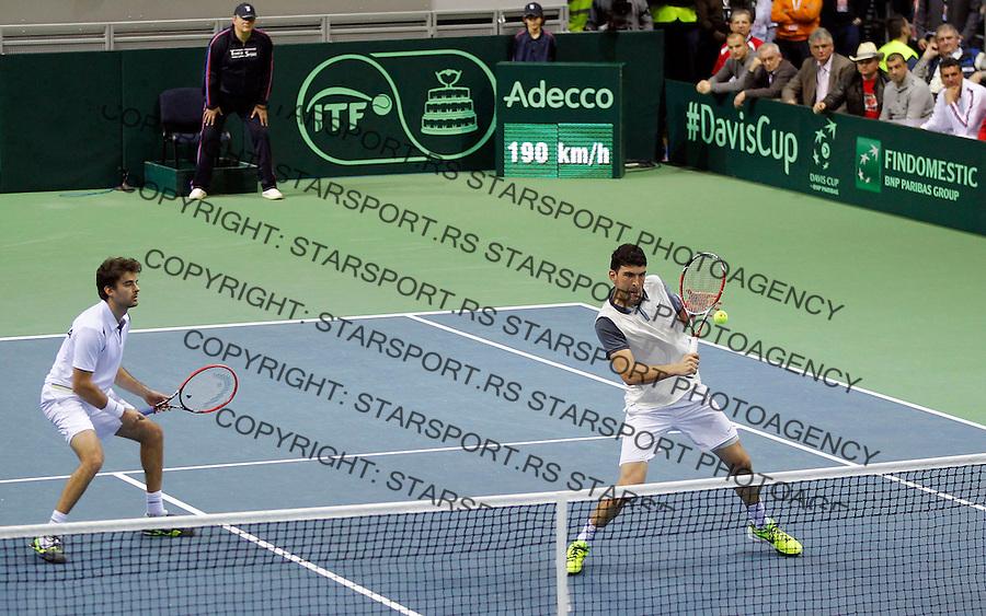 Davis Cup 2014 first round<br /> Srbija v Hrvatska<br /> Novak Djokovic and Nenad Zimonjic-Serbia v Franko Skugor and Marin Draganja doubles dublovi<br /> Franko Skugor (R) and Marin Draganja<br /> Kraljevo, 07.03.2015.<br /> Foto: Srdjan Stevanovic/Starsportphoto.com&copy;