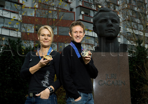 16.11.2009 Gunda Niemann Speed skating Olympic Champion and Jens WeiBflog Ski jumping Olympic medalist at the Monument in Memory of the first People in Space, the statue is of Yuri Gagarin.