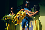 Julian Alaphilippe (FRA) Deceuninck-Quick Step retains the Yellow Jersey at the end of Stage 9 of the 2019 Tour de France running 170.5km from Saint-Etienne to Brioude, France. 14th July 2019.<br /> Picture: ASO/Thomas Maheux | Cyclefile<br /> All photos usage must carry mandatory copyright credit (© Cyclefile | ASO/Thomas Maheux)