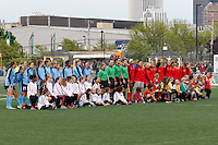Rochester, NY - Saturday May 21, 2016: Sky Blue FC and the Western New York Flash line up for pre-game introductions. The Western New York Flash defeated Sky Blue FC 5-2 during a regular season National Women's Soccer League (NWSL) match at Sahlen's Stadium.