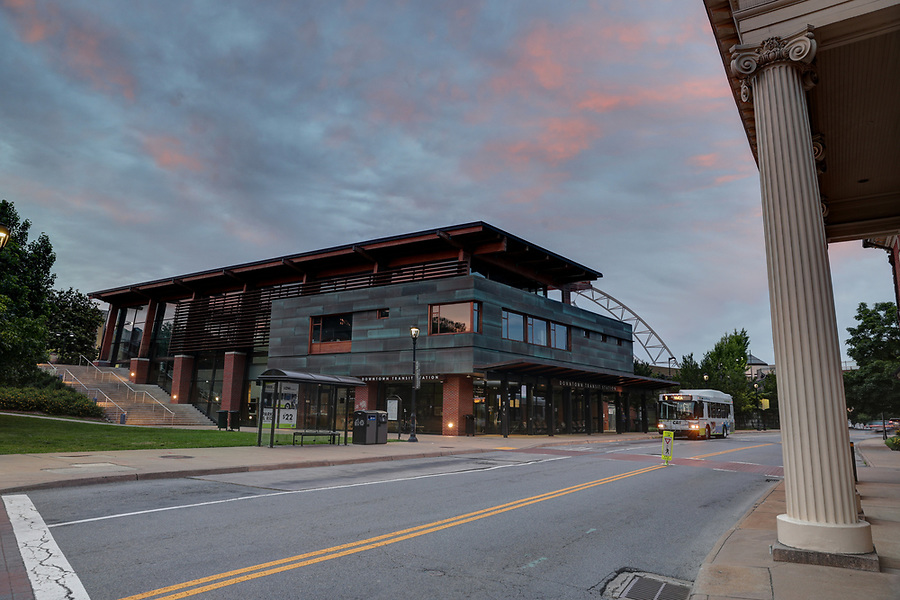 Bus and transit station center for public transportation in Charlottesville, Va. Photo/Andrew Shurtleff Photography, LLC