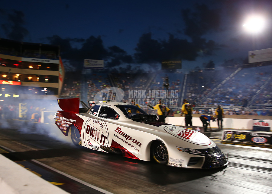 Jul 7, 2017; Joliet, IL, USA; NHRA funny car driver Cruz Pedregon during qualifying for the Route 66 Nationals at Route 66 Raceway. Mandatory Credit: Mark J. Rebilas-USA TODAY Sports