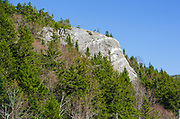 "The rock profile known as ""Elephant Head"" at the start of Crawford Notch in Carroll, New Hampshire during the spring season. Elephant Head is a scenic overlook."