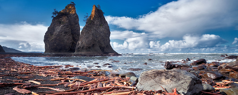 Driftwood and Split Rock. Rialto Beach. Olympic National Park, Washington
