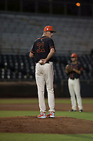 AZL Giants Black starting pitcher Conner Nurse (31) checks the runner at first base during an Arizona League game against the AZL Royals at Scottsdale Stadium on August 7, 2018 in Scottsdale, Arizona. The AZL Giants Black defeated the AZL Royals by a score of 2-1. (Zachary Lucy/Four Seam Images)
