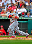 1 March 2009: St. Louis Cardinals' catcher Yadier Molina smacks a double during a Spring Training game against the Florida Marlins at Roger Dean Stadium in Jupiter, Florida. The Cardinals outhit the Marlins 20-13 resulting in a 14-10 win for the Cards. Mandatory Photo Credit: Ed Wolfstein Photo