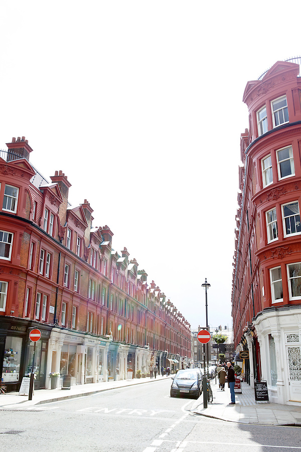 The brick architecture of Chiltern Street, Marylebone neighborhood of London, Great Britain, Europe
