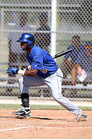 New York Mets outfielder Jorge Rivero #5 during an Instructional League game against the Minnesota Twins at Lee County Sports Complex on October 4, 2011 in Fort Myers, Florida.  (Mike Janes/Four Seam Images)