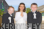 Pupils of Saint John's Parochial School, Ashe Street, Tralee who received their First Communion on Sunday at Saint John's Church, Castle Street, Tralee. <br /> From Left: Tommy Donnelly, Tamara Buckley and Nathan Rogers.