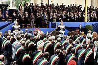 Roma, 2 Giugno 2016<br /> I Sindaci aprono la sfilata.<br /> Sfilata davanti la tribuna delle alte cariche dello Stato<br /> Celebrazioni e parata militare per il 70°anniversario della Repubblica italiana.<br /> Rome, June 2, 2016<br /> Celebration and military parade for the 70th anniversary of the Italian Republic