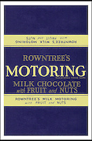 BNPS.co.uk (01202 558833)<br /> Picture: Nestle/BNPS<br /> <br /> ****Please use full byline****<br /> <br /> Rowntrees motoring chocolate.<br /> <br /> A selection of vintage chocolate and sweets wrappers have been unearthed to help trigger happy memories in dementia sufferers.<br /> <br /> Some of the earliest examples of the Rowntrees packaging dates from the 1920s and includes the first wrappers for famous treats such as Aero, Dairy Box, and Fruit Gums.<br /> <br /> As the brands were updated over the years the paper casing was gradually changed but examples of the early versions were stored in an archive.<br /> <br /> Historians at Rowntrees have now placed images of the packets on an online document so that they can be seen by dementia sufferers as a way to reminisce.
