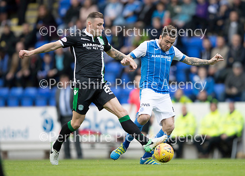 St Johnstone v Hibs &hellip;09.09.17&hellip; McDiarmid Park&hellip; SPFL<br />Anthony Stokes is tackled by Paul Paton<br />Picture by Graeme Hart.<br />Copyright Perthshire Picture Agency<br />Tel: 01738 623350  Mobile: 07990 594431