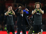 Antonio Conte manager of Chelsea celebrates during the English Premier League match at the Riverside Stadium, Middlesbrough. Picture date: November 20th, 2016. Pic Simon Bellis/Sportimage