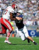 10 October 2015:  Penn State DE Carl Nassib (95) tries to rushes the QB around Indiana T Dimitric Camiel (77). The Penn State Nittany Lions defeated the Indiana Hoosiers 29-7 at Beaver Stadium in State College, PA. (Photo by Randy Litzinger/Icon Sportswire)