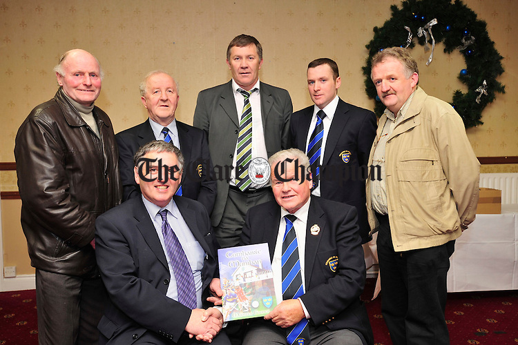 Jimmy O' Gorman, Chairman of the GAA Munster Council presnts a grant to Jim Nash of Tuamgraney Handball. Also pictured are PJ Mc Guane and Robert Frost from the Munster Council, Ger Hickey of the Clare County Board, Daniel Nelligan of the Munster Council and Michael O' Neill of the Clare County Board. Photograph by Declan Monaghan