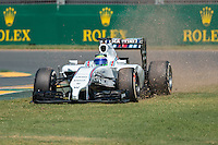 March 14, 2014: Felipe Massa (BRA) from the Williams Martini Racing team runs off turn one during practice session one at the 2014 Australian Formula One Grand Prix at Albert Park, Melbourne, Australia. Photo Sydney Low.