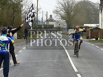 Drogheda Wheelers rider Eoin Ferriter crosses the line to win the A4 race at the Boyne G.P. near Slane. Photo:Colin Bell/pressphotos.ie
