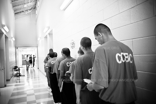 Chicago Illinois, USA<br /> May 2008<br /> <br /> Young inmates at the Cook County Boot Camp detention center lineup for next class.