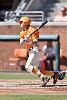 Tennessee Volunteers third baseman Jordan Rodgers (7) swings at a pitch during a game against the South Carolina Gamecocks at Lindsey Nelson Stadium on March 18, 2017 in Knoxville, Tennessee. The Gamecocks defeated Volunteers 6-5. (Tony Farlow/Four Seam Images)