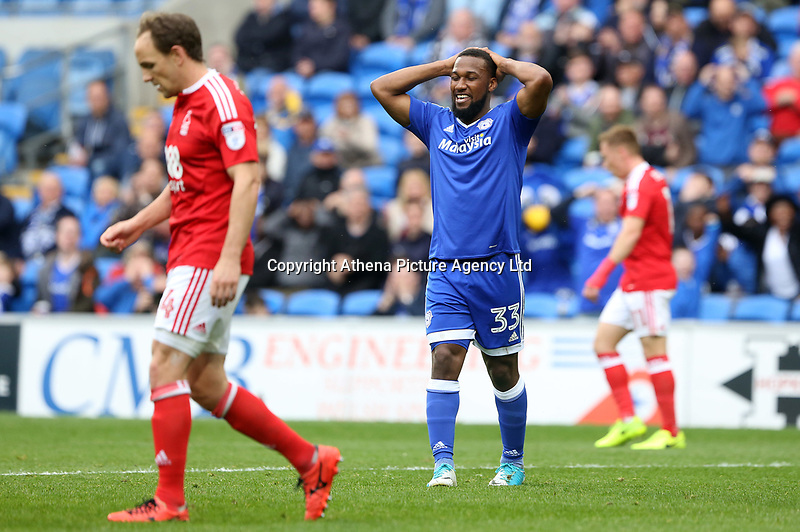 Junior Hoilett of Cardiff City puts his hands on his head as his shot grazes the far post during the Sky Bet Championship match between Cardiff City and Nottingham Forest at the Cardiff City Stadium, Cardiff, Wales, UK. 17 April 2017