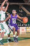 Stephen F. Austin Lumberjacks guard Trey Pinkney (10) in action during the game between the Stephen F. Austin Lumberjacks and the North Texas Mean Green at the Super Pit arena in Denton, Texas. SFA defeats UNT 87 to 53.<br /> <br /> <br /> )