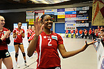 Rüsselsheim, Germany, April 13: Dominique Lamb #2 of the Rote Raben Vilsbiburg celebrates the win over VC Wiesbaden at play off Game 1 in the best of three series in the semifinal of the DVL (Deutsche Volleyball-Bundesliga Damen) season 2013/2014 between the VC Wiesbaden and the Rote Raben Vilsbiburg on April 13, 2014 at Grosssporthalle in Rüsselsheim, Germany. Final score 0:3 (Photo by Dirk Markgraf / www.265-images.com) *** Local caption ***