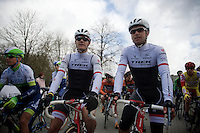 young gun Jasper Stuyven (BEL/Trek Factory Racing) next to accomplished teammate Stijn Devolder (BEL/Trek Factory Racing) at the start<br /> <br /> 3 Days of De Panne 2015