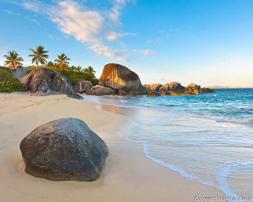 Virgin Gorda, British Virgin Islands, Caribbean<br /> Morning light on the beach of Little Trunk Bay near the Baths
