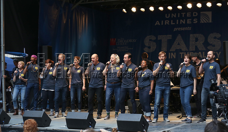 The cast of 'Come From Away' on stage at United Airlines Presents #StarsInTheAlley free outdoor concert in Shubert Alley on 6/2/2017 in New York City.