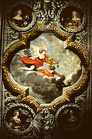 France/15/Cantal/Polminhac: Château de Pesteils - Chambre de la renommée - Détail plafond peint