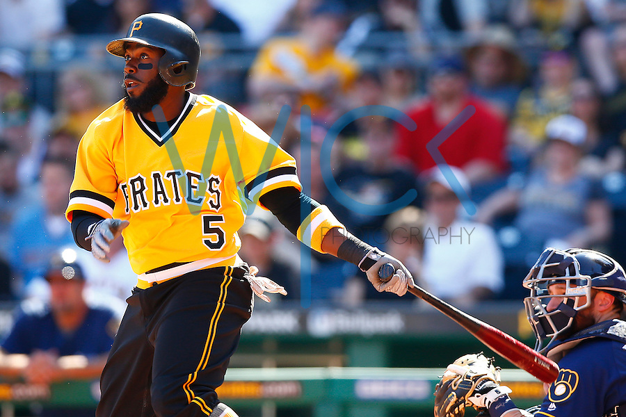 Josh Harrison #5 of the Pittsburgh Pirates in action against the Milwaukee Brewers during the game at PNC Park in Pittsburgh, Pennsylvania on April 17, 2016. (Photo by Jared Wickerham / DKPS)