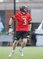 Baltimore, MD - April 28, 2018: Maryland Terrapins Justin Shockey (3) celebrates after scoring a goal during game between John Hopkins and Maryland at  Homewood Field in Baltimore, MD.  (Photo by Elliott Brown/Media Images International)
