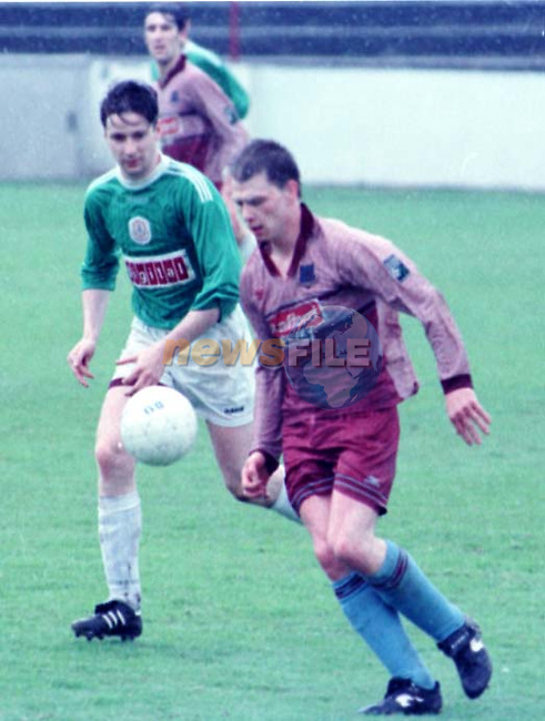 Drogheda Goal hero John  Reid  on the ball in this crunch tie at United Park..Pic Terry Collins..