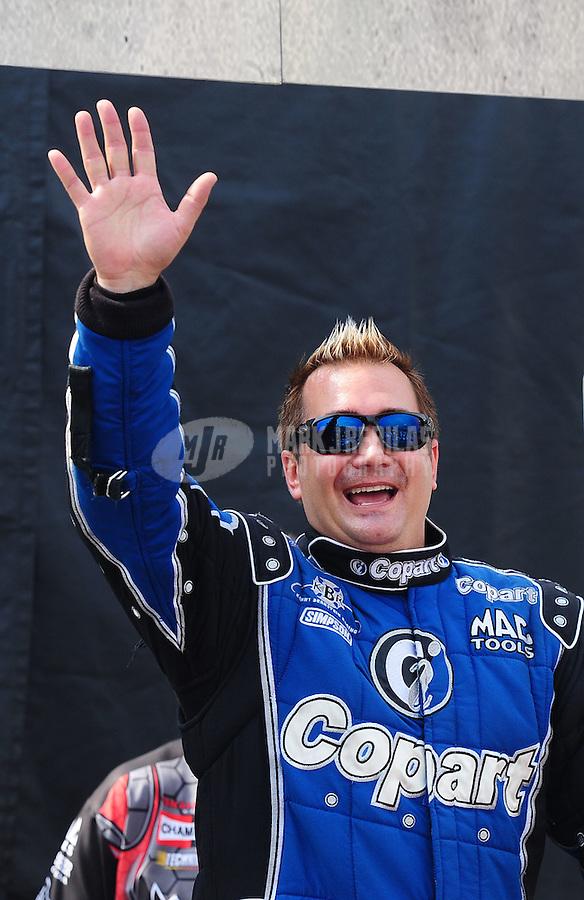 May 1, 2011; Baytown, TX, USA: NHRA top fuel driver Brandon Bernstein during the Spring Nationals at Royal Purple Raceway. Mandatory Credit: Mark J. Rebilas-