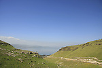 Golan Heights. Mount Susita (right) overlooking the Sea of Galilee
