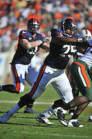 01 November 2008:  Virginia tackle Eugene Monroe (75) pass blocks..The Miami Hurricanes defeated the Virginia Cavaliers 24-17 in OT at Scott Stadium in Charlottesville, VA..